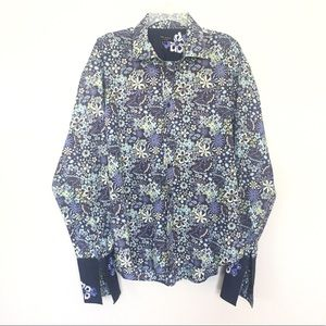 Ted Baker Printed Embroidered Collar Shirt Size 6